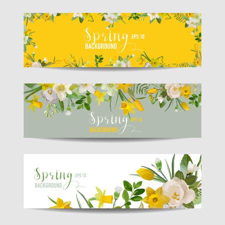 Spring Flower Banner Set - in vector