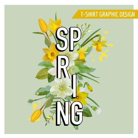 Frühlings-Blumen und Blätter Hintergrund. Vector Design. Vektor. T-Shirt Mode Graphic.