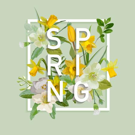 Diseño floral de la primavera Gráfico - con Narciso Flores - para la camiseta, la moda, impresiones - en el vector