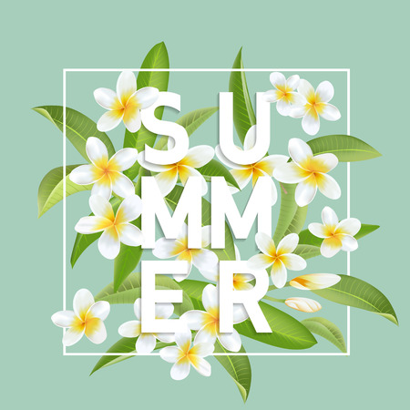 Tropische bloemen en bladeren achtergrond. Zomer ontwerp. Vector. T-shirt Mode Grafisch. Exotische achtergrond. Stock Illustratie