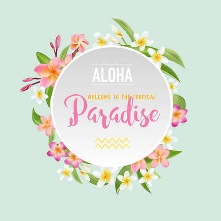 Tropical Flowers and Leaves Background. Summer Design. Vector. T-shirt Fashion Graphic. Exotic Background. Ilustração