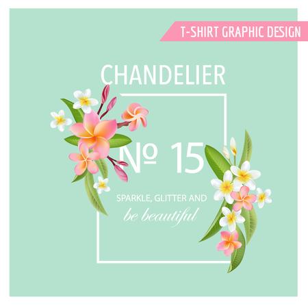 Fleurs tropicales et des feuilles. Vector Background. Arrière-plan graphique exotique. Bannière Tropical. Vecteurs