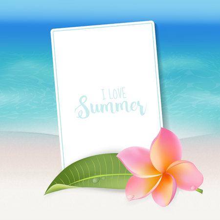 tropical flower: Realistic Sea Background. Tropical Flower. Beach Background. Card for text. Vector
