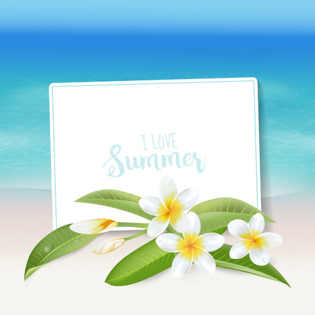 background flower: Realistic Sea Background. Tropical Flower. Beach Background. Card for Text. Vector