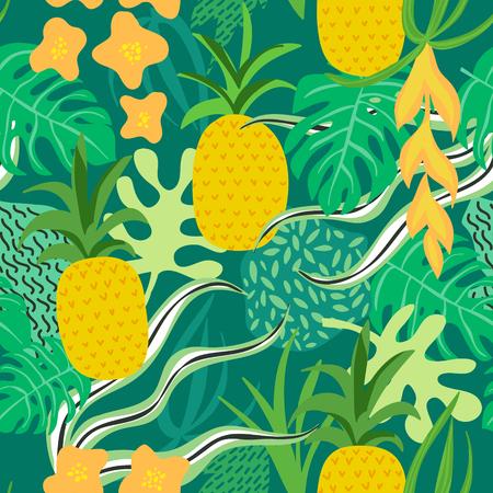 열 대 꽃과 나뭇잎 패턴. 파인애플 복고풍 배경입니다. 완벽 한 배경입니다. 벡터 일러스트
