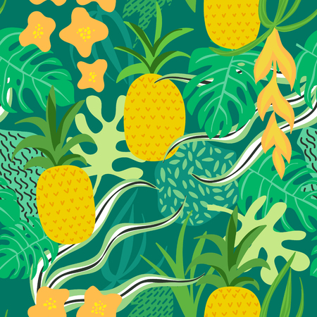 Tropical Flowers and Leaves Pattern. Pineapples Retro Background. Seamless Background. Vector