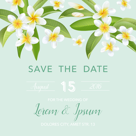 frangipani flower: Wedding Invitation Card - with Tropical Flowers Background - Save the Date - in vector