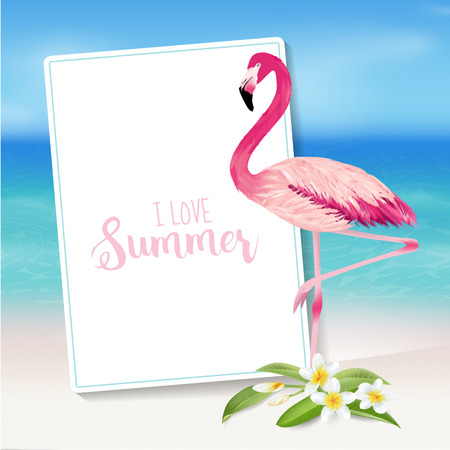 Tropical Background. Tropical Flower and Flamingo Bird. Beach Background. Vector