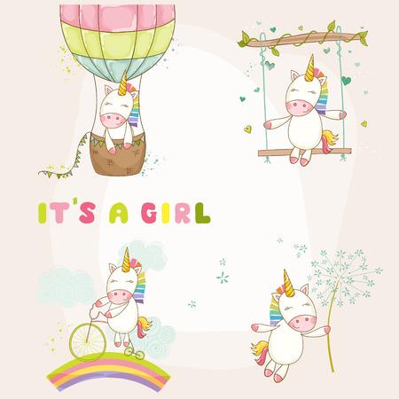 Baby Unicorn Set - Douche van de baby of Arrival Card - in vector Stock Illustratie