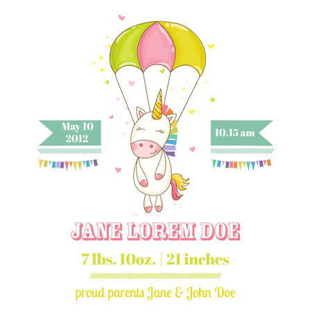 Baby Shower or Arrival Card - Baby Unicorn Girl - in vector Hình minh hoạ