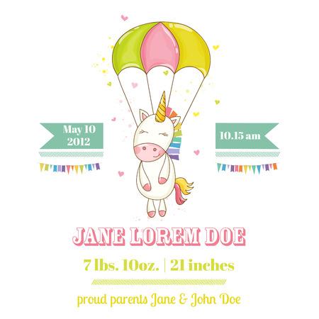 Douche of Kaart van de Aankomst van de baby - Baby Unicorn Girl - in vector