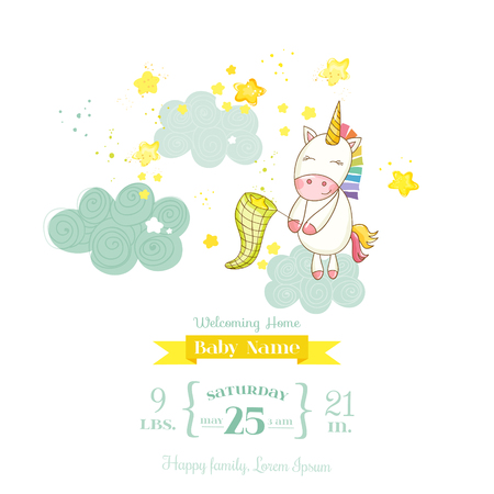 Baby Shower or Arrival Card - Baby Unicorn Girl - in vector 矢量图像