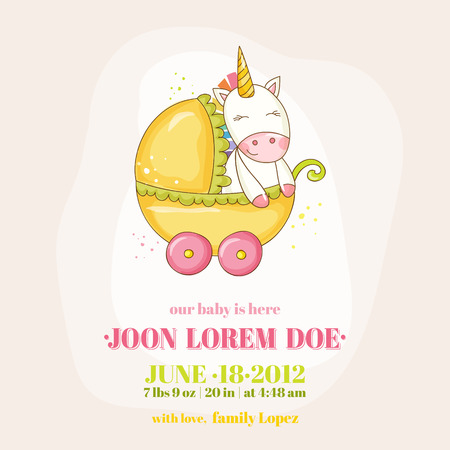 Baby Shower or Arrival Card - Baby Unicorn Girl - in vector  イラスト・ベクター素材