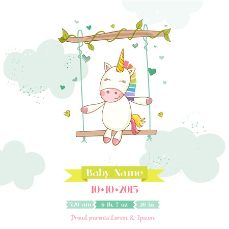 Baby Shower or Arrival Card - Baby Unicorn Girl - in vector Illustration