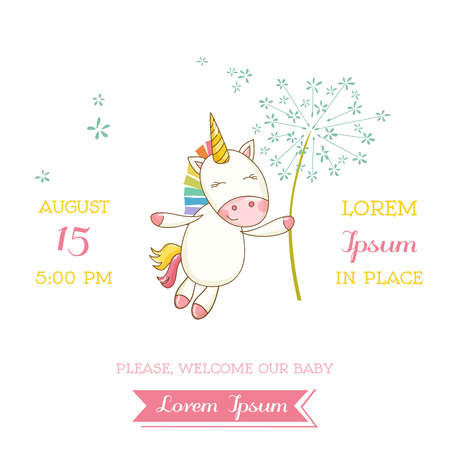 Baby Shower or Arrival Card - Baby Unicorn Girl - in vector Çizim