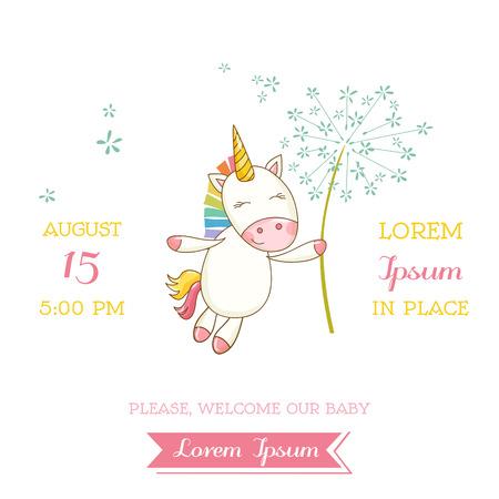 Douche of Kaart van de Aankomst van de baby - Baby Unicorn Girl - in vector Stock Illustratie