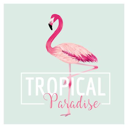 flamenco ave: Pájaro tropical. Antecedentes del flamenco. Diseño verano. Vector. Camiseta gráfica de la moda. Antecedentes exótico. Vectores