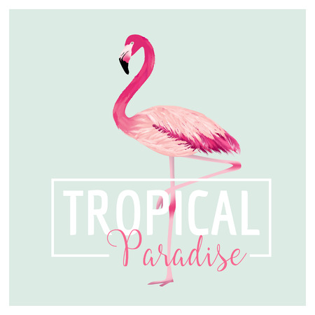 Tropical Bird. Flamingo Background. Summer Design. Vector. T-shirt Fashion Graphic. Exotic Background.