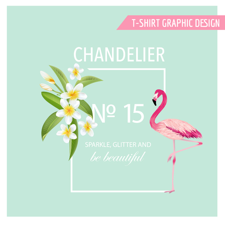 Tropical Flowers and Leaves. Flamingo Bird. Vector Background. Exotic Graphic Background. Illustration