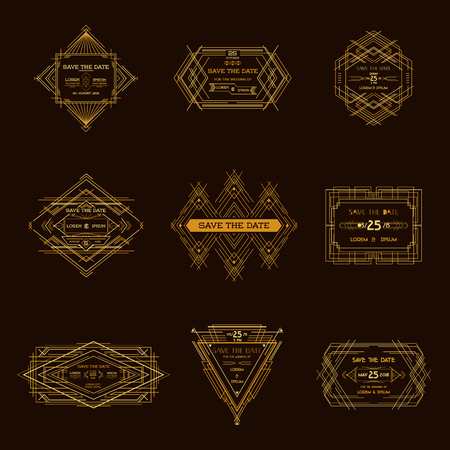 art deco: Save the Date - Set of Wedding Invitation Cards - Art Deco Vintage Style - in vector Illustration