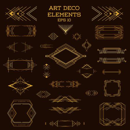 art frame: Art Deco Vintage Frames and Design Elements - in vector Illustration