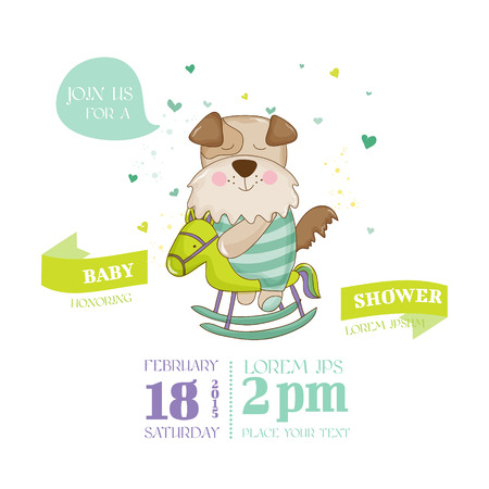 arrival: Baby Shower or Arrival Card - Baby Dog - in vector Illustration