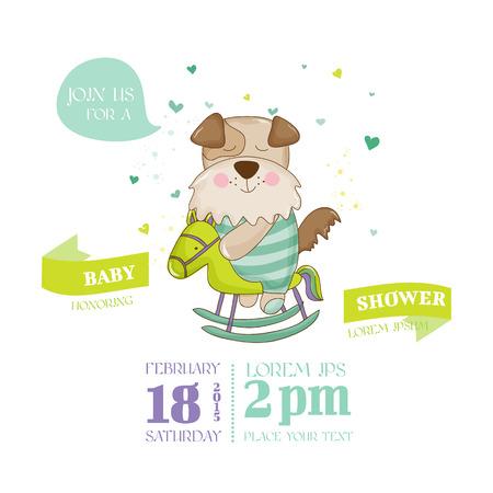 Ducha o tarjeta de llegada del bebé - perro del bebé - en el vector