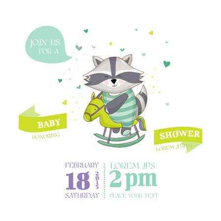 racoon: Baby Shower or Arrival Card - Baby Racoon - in vector