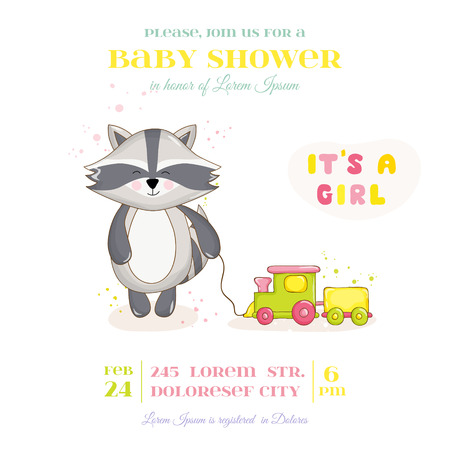 racoon: Baby Shower or Arrival Card - Baby Racoon Girl - in vector