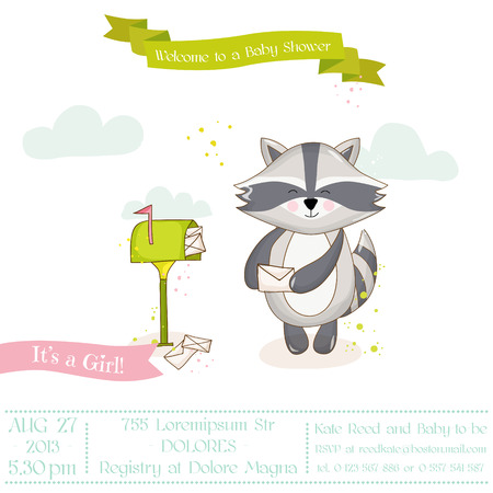 racoon: Baby Shower or Arrival Card - Baby Racoon Girl- in vector Illustration