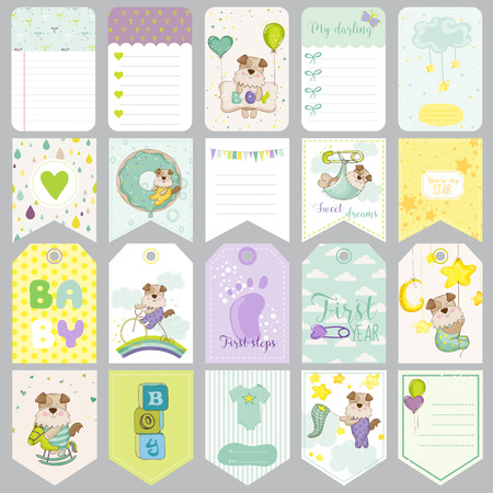 Baby Dog Tags Baby Banners Scrapbook Labels Cute Cards Vector