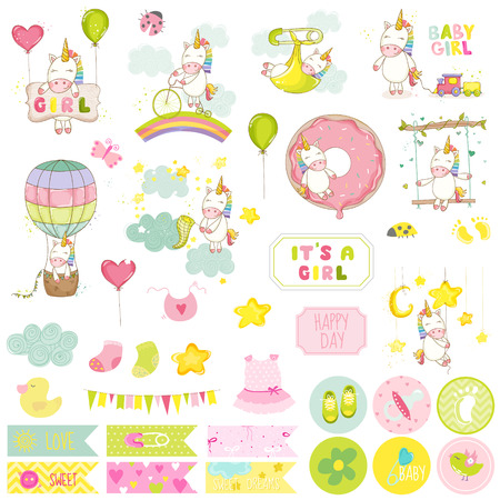Baby Girl Unicorn Scrapbook Set. Vector Scrapbooking. Elementos decorativos. Tags do bebê. Etiquetas de bebê. Adesivos. Notas. Foto de archivo - 56376368
