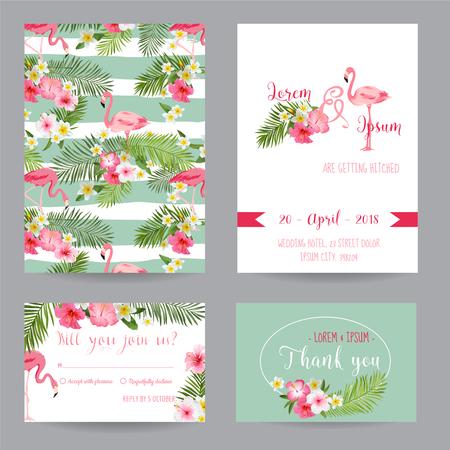 Zapisz datę - Wedding lub congratulation zestaw kart - Tropical Flamingo Theme - w wektorze