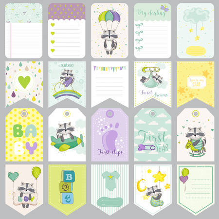 cute cards: Baby Raccoon Tags. Baby Banners. Scrapbook Labels. Cute Cards. Vector Design Elements.