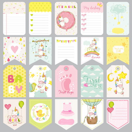 cute cards: Baby Unicorn Tags. Baby Banners. Scrapbook Labels. Cute Cards. Vector Design Elements.