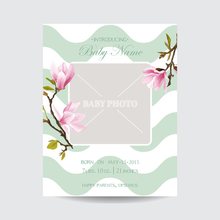 arrival: Baby Arrival Card with Photo Frame - Blossom Magnolia Flowers Theme - in vector