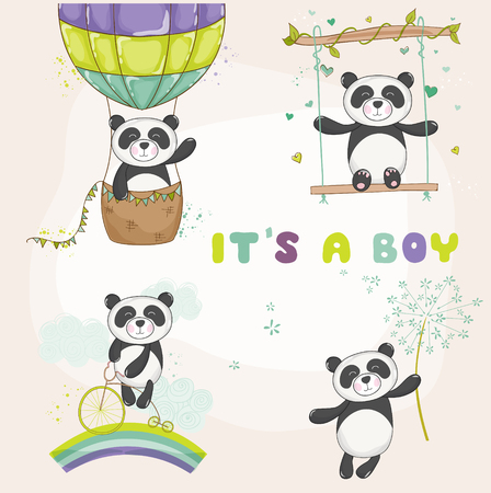 arrival: Baby Panda Set - Baby Shower or Arrival Card - in vector Illustration