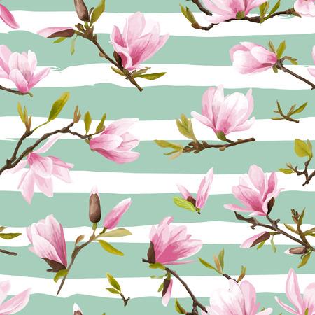 원활한 플로랄 패턴입니다. 목련 꽃과 나뭇잎 배경입니다. 이국적인 꽃입니다. 벡터
