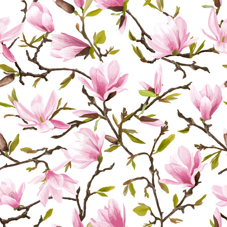 Seamless Floral Pattern. Magnolia Flowers and Leaves Background. Exotic Flower. Vector