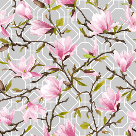 vintage patterns: Seamless Floral Pattern. Magnolia Flowers and Leaves Geometry Background. Exotic Flower. Vector