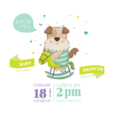 arrival: Baby Shower or Arrival Card - Baby Panda - in vector Illustration