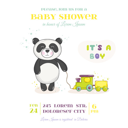 happy children: Baby Shower or Arrival Card - Baby Panda with Train Toy- in vector Illustration
