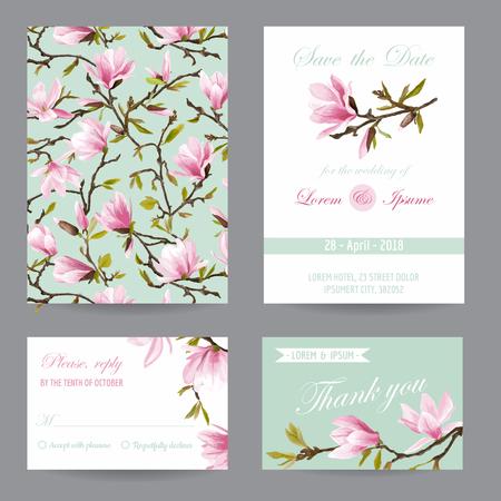 結婚式の招待状。お祝いカード セット。日付を保存します。モクレンの花です。ベクトルのポストカード。