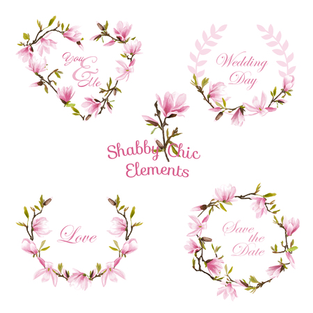 Flower Magnolia Banners en Tags. BloemenKroon. Vector Set.