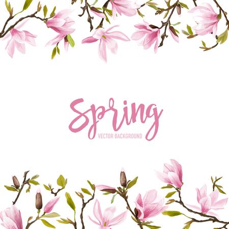 crecimiento planta: Antecedentes flor de la primavera - Magnolia Flores - en el vector Vectores