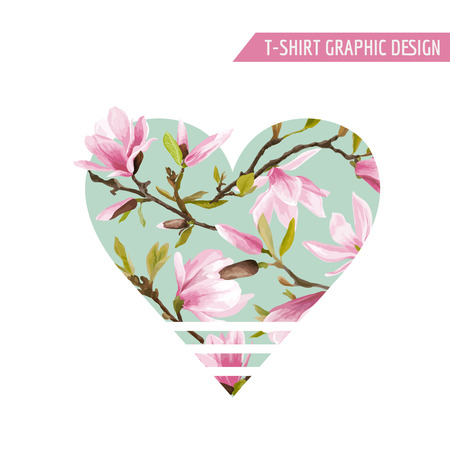 Flower Heart Graphic Design - for t-shirt, fashion, prints - in vector Vektorové ilustrace