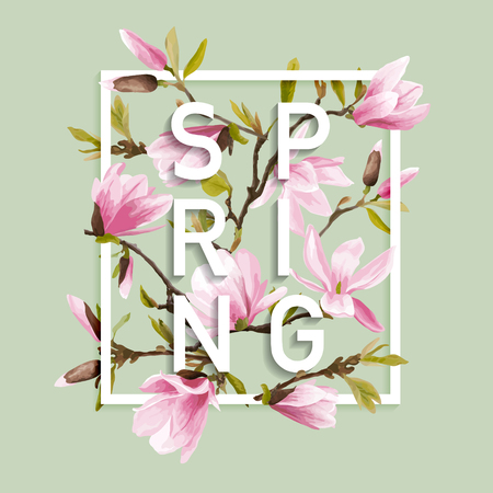 Floral Spring Graphic Design - with Magnolia Flowers - for t-shirt, fashion, prints - in vector  イラスト・ベクター素材