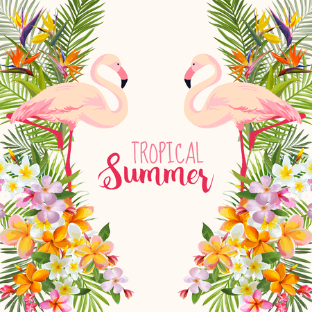 estate: Fiori tropicali. Flamingo Bird. Sfondo tropicale. Vettore tropicale. Sfondo floreale. Summer Background. T-shirt design.
