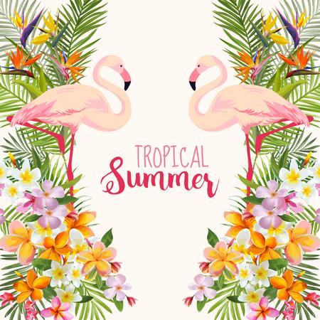 Flores tropicais. Pássaro Flamingo. Fundo Tropical. Vetor tropical. Fundo floral. Fundo de verão. Design de camiseta.