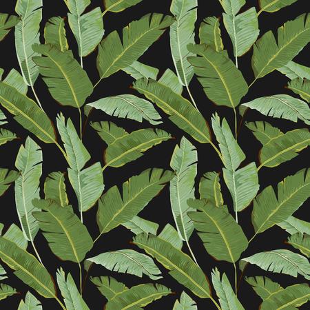 Naadloos Patroon. De tropische Achtergrond van Bladeren. Bananen bladeren. Vector Achtergrond. Stock Illustratie